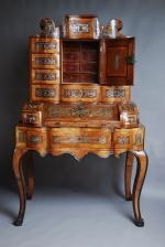 South German rare walnut & inlaid bureau-cabinet