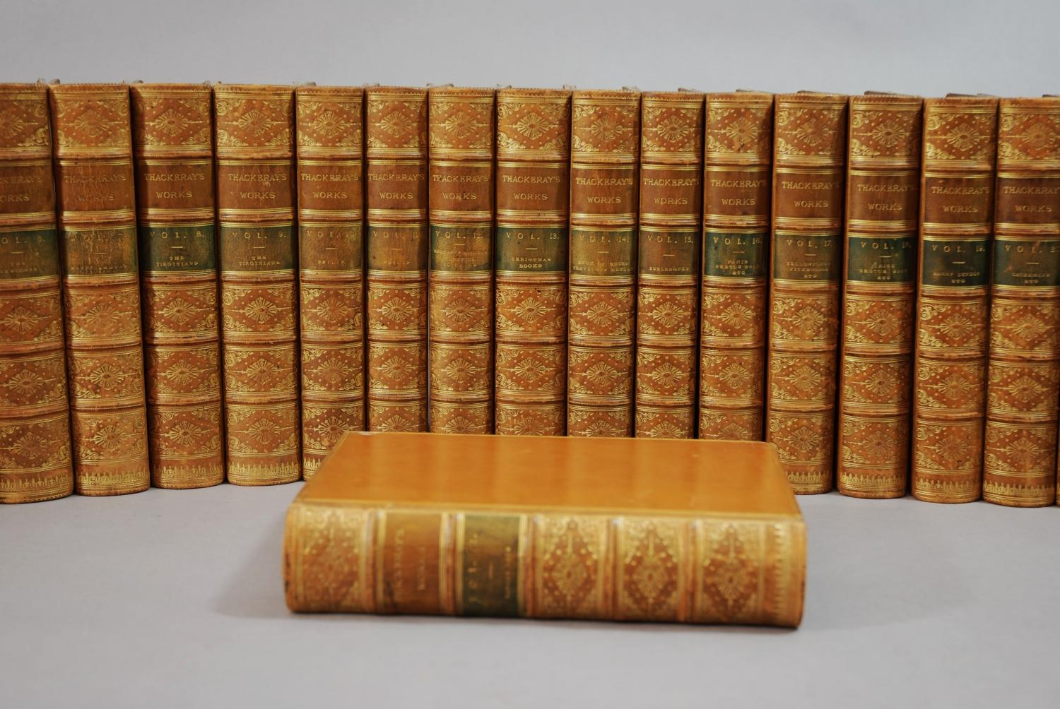 Leather bound complete set Thackeray's Works