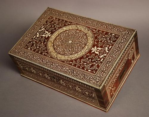 A  19thc Anglo Indian brass bound & ivory box