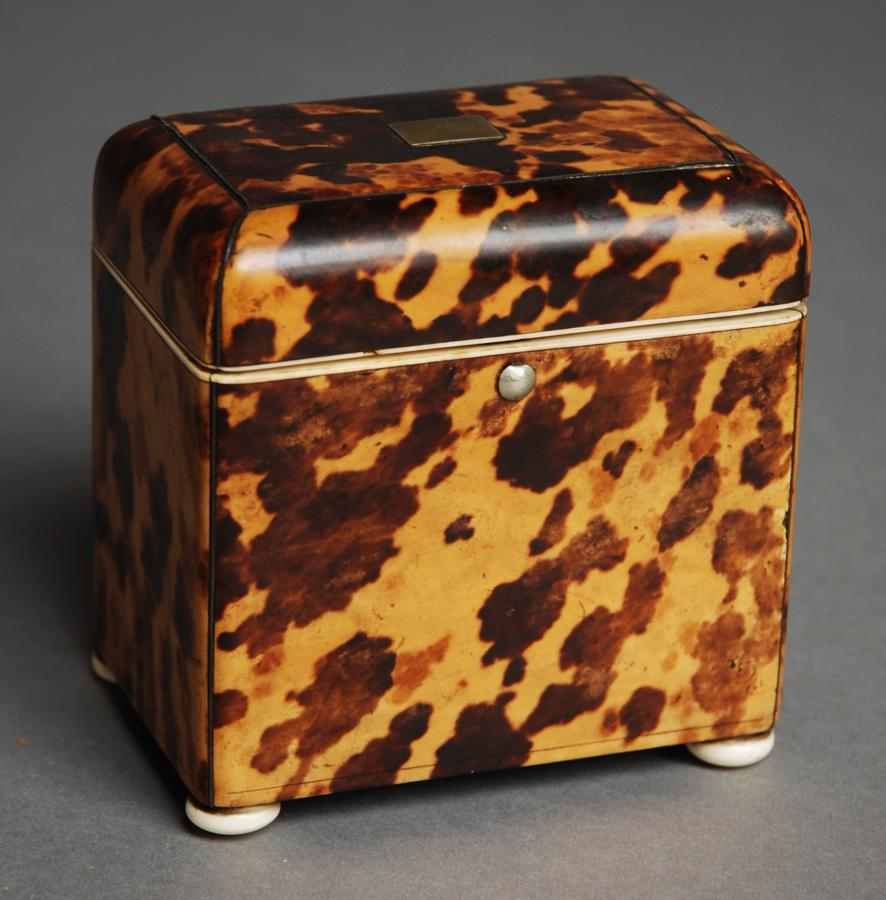 Small 19thc tortoiseshell tea caddy