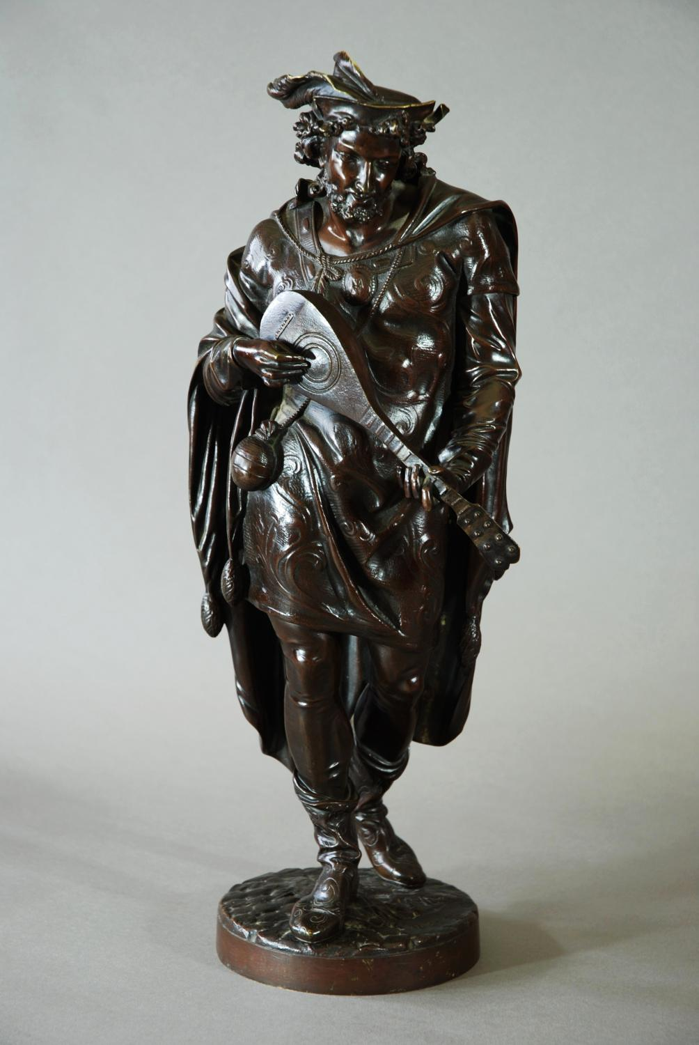 Late 19thc French bronze of lute player