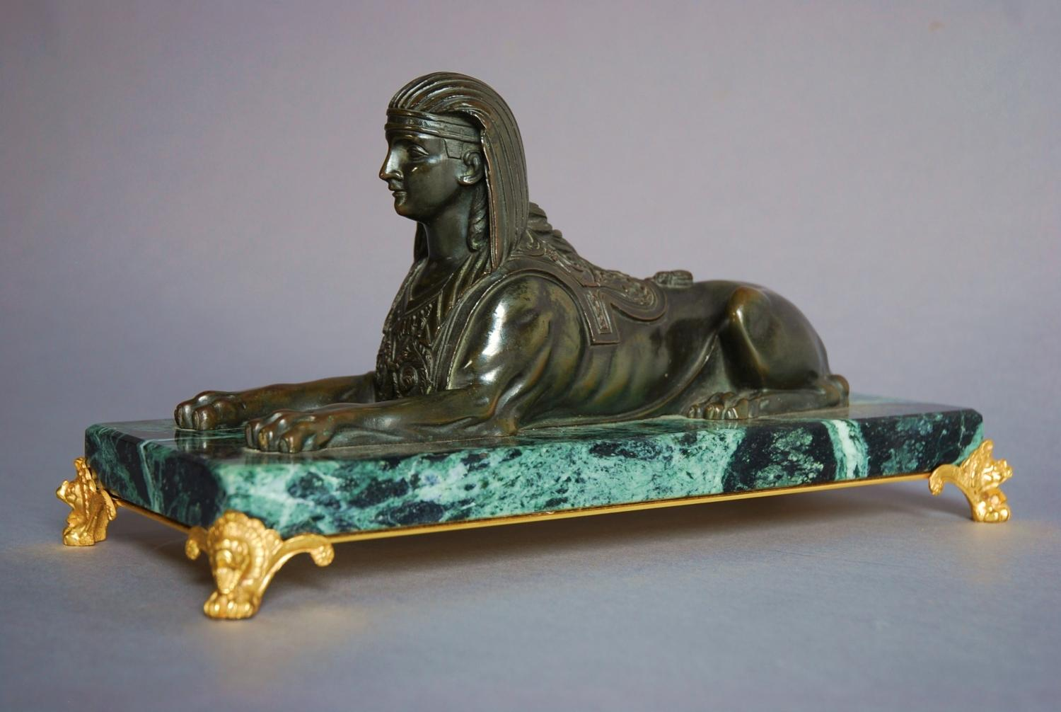 19thc bronze of sphinx on marble base