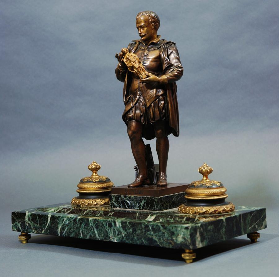 Late 19th bronze,ormolu & marble inkstand of