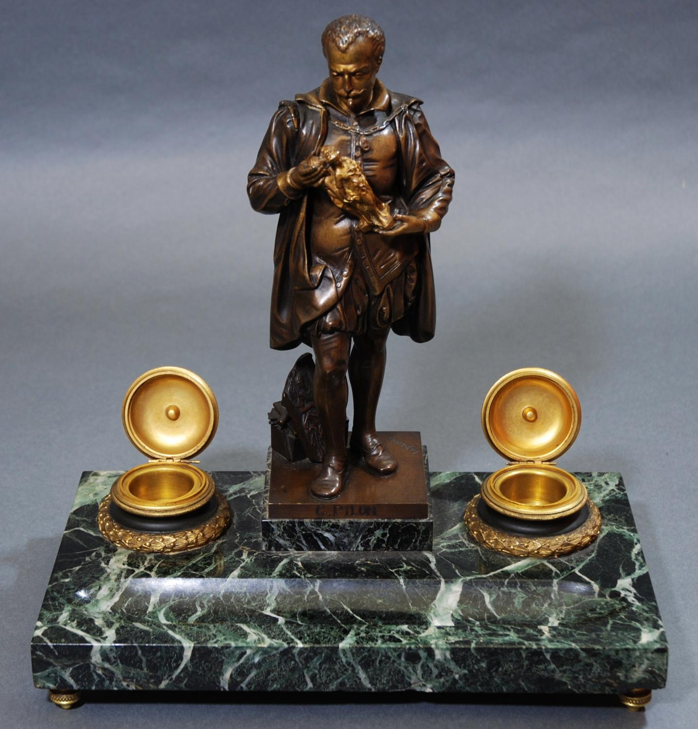 Late 19th bronze,ormolu & marble inkstand of