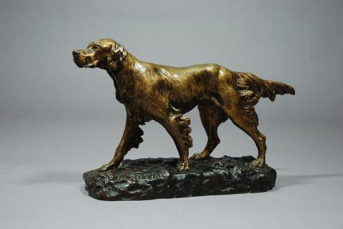 Gilt bronze figure of a pointer dog