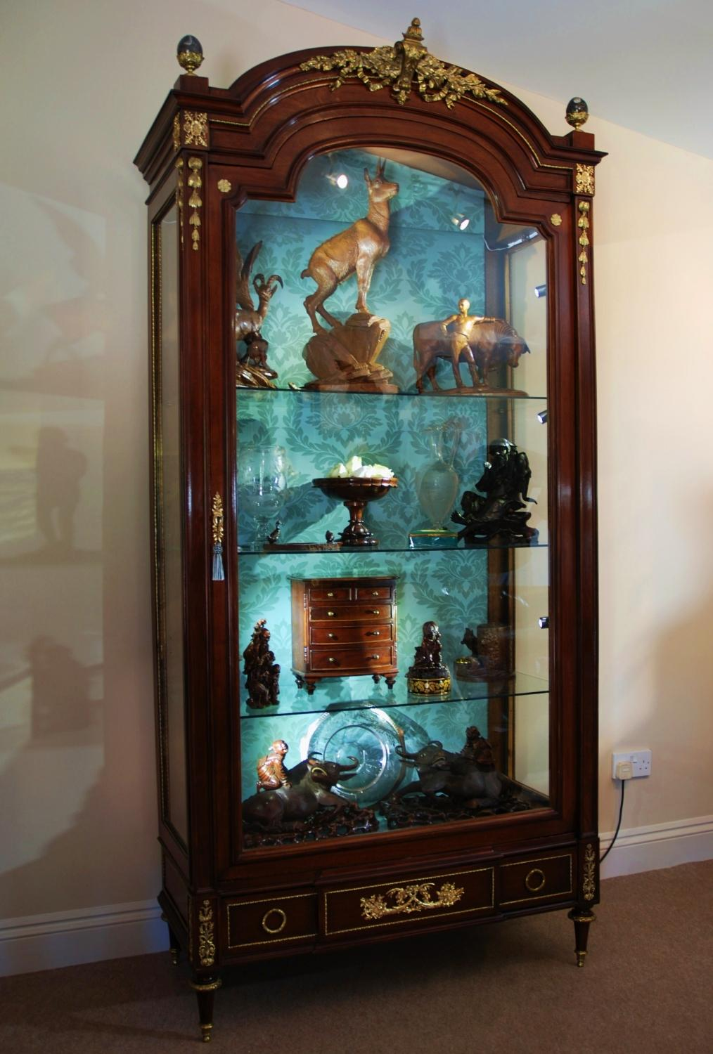 19thc French mahogany display cabinet