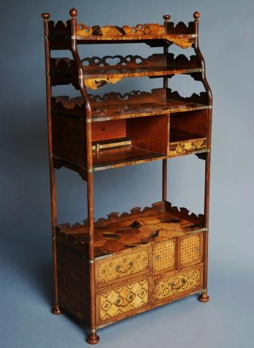 Late 19thc Japanese parquetry cabinet