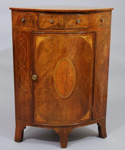 Mahogany inlaid bow-fronted corner cupboard