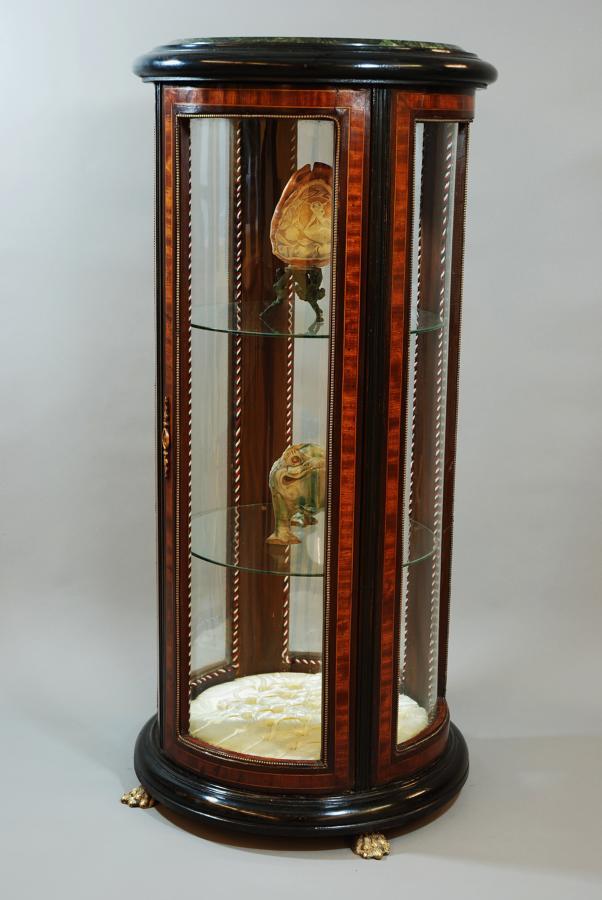 Glazed cylinder shaped display case
