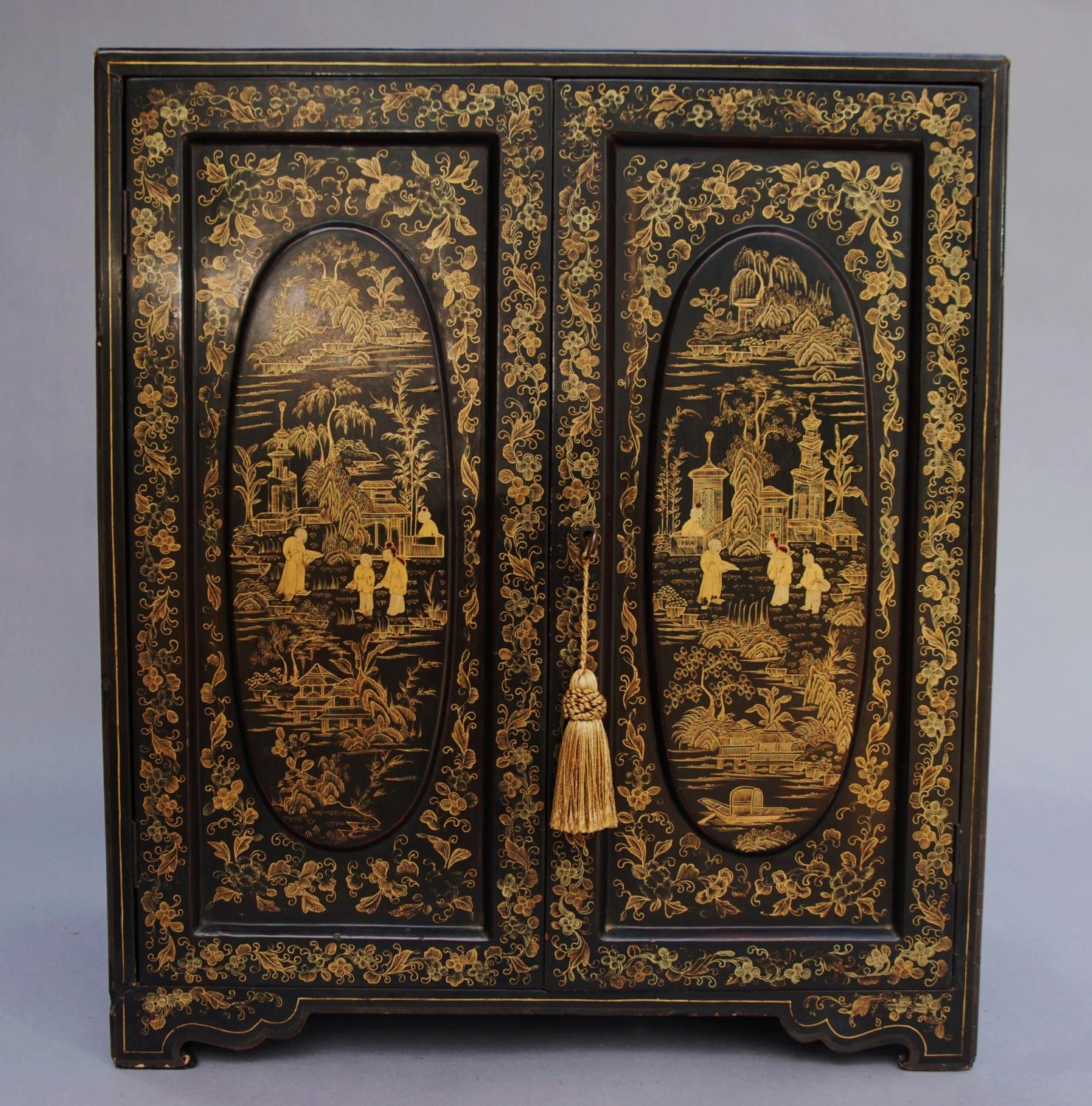 19thc Chinese lacquered table cabinet