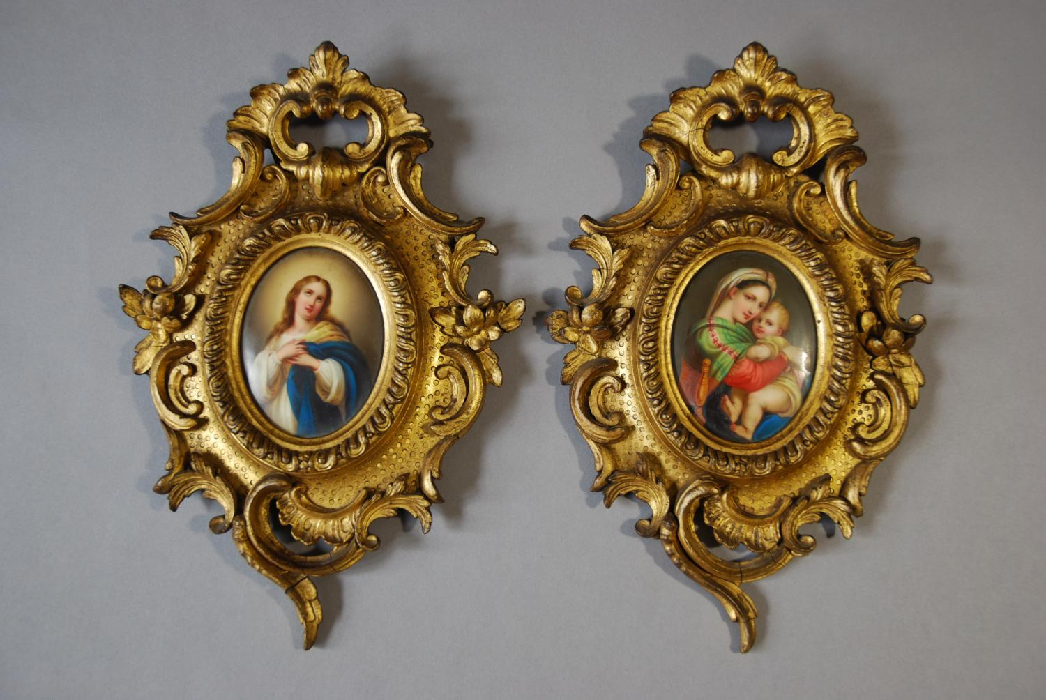 Pair of 19thc painted Italian miniatures