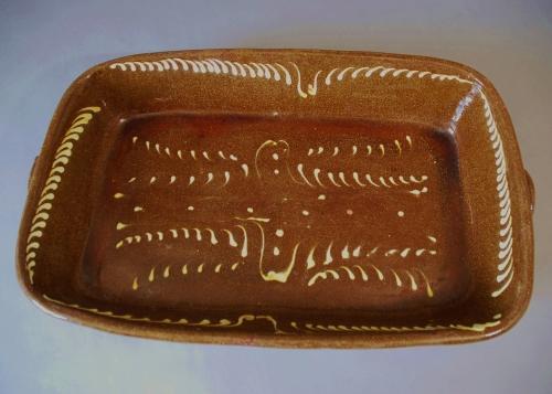 19thc brown glazed large slipware dish