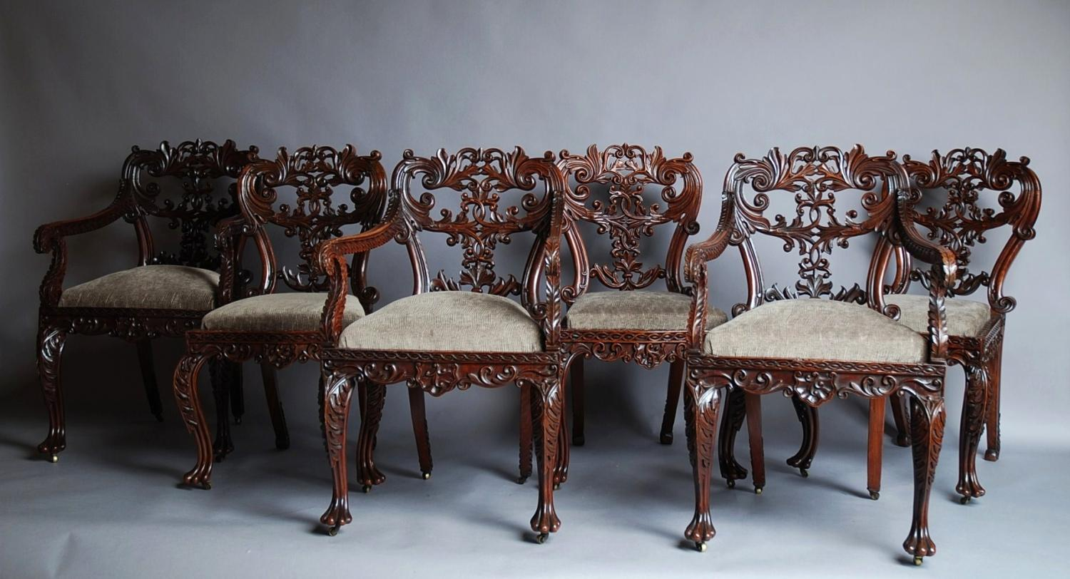 19thc set of six padouk Anglo Indian chairs