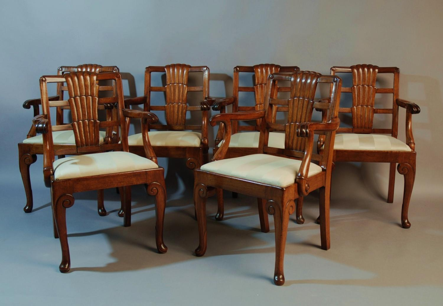 Six walnut Art Deco Ocean liner chairs