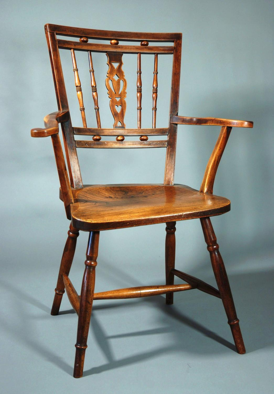 Early 19thc fruitwood Mendlesham chair
