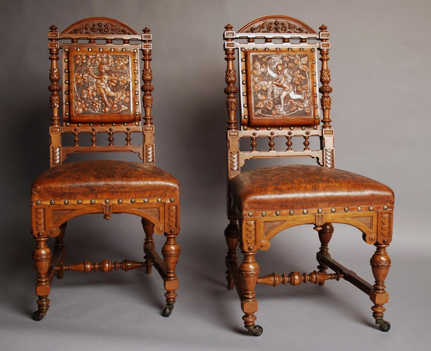 Pair of French 19thc walnut chairs