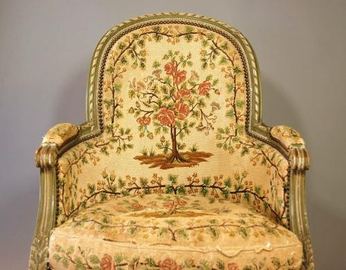 French painted armchair with tapestry