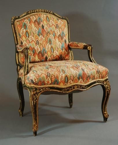 Late 19thc painted French fauteuil