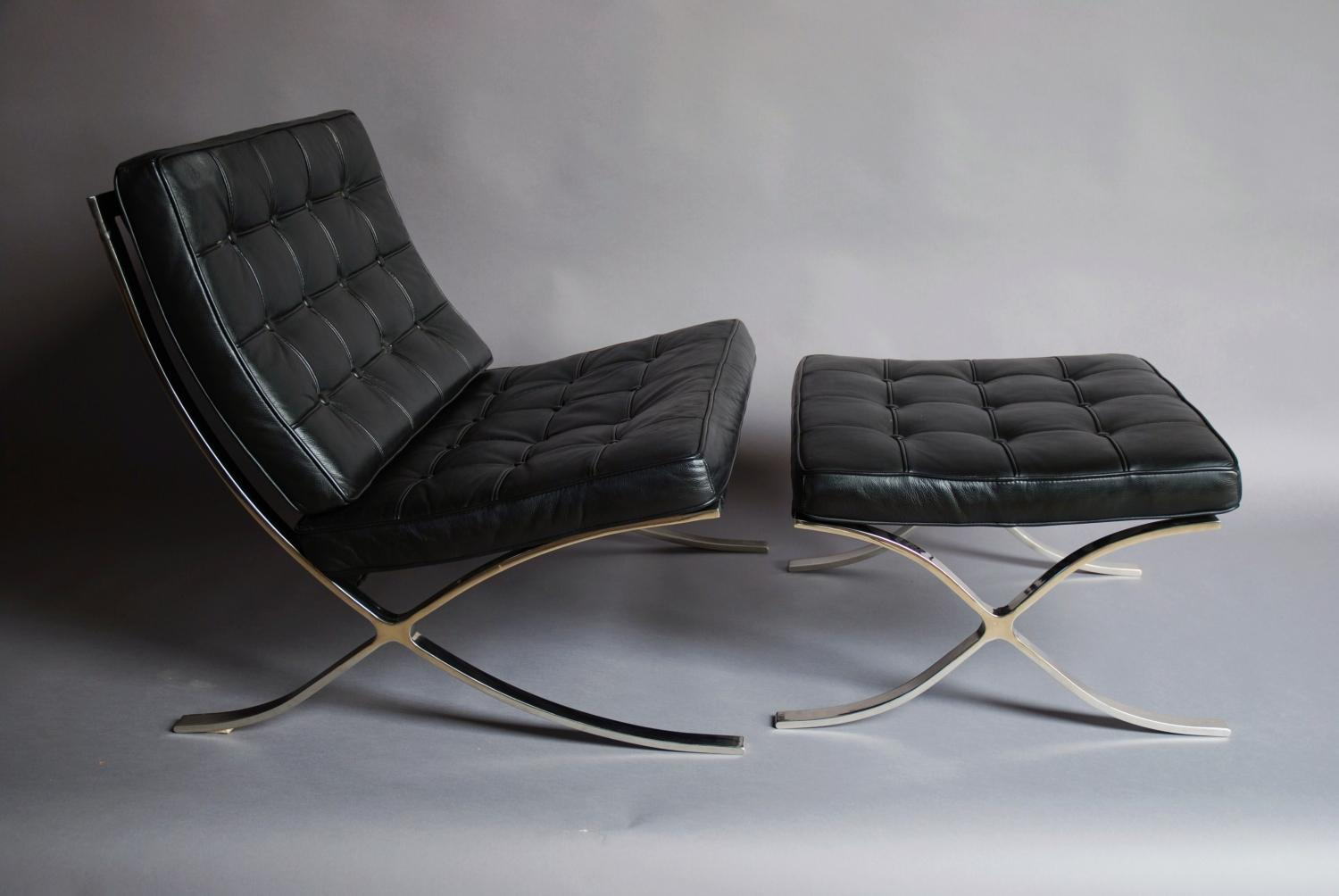 Barcelona Chair & stool in black leather