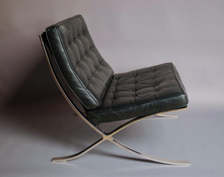 ... Barcelona Chair u0026 stool in black leather - picture ... & Barcelona Chair u0026 stool in black leather in SOLD ARCHIVE islam-shia.org