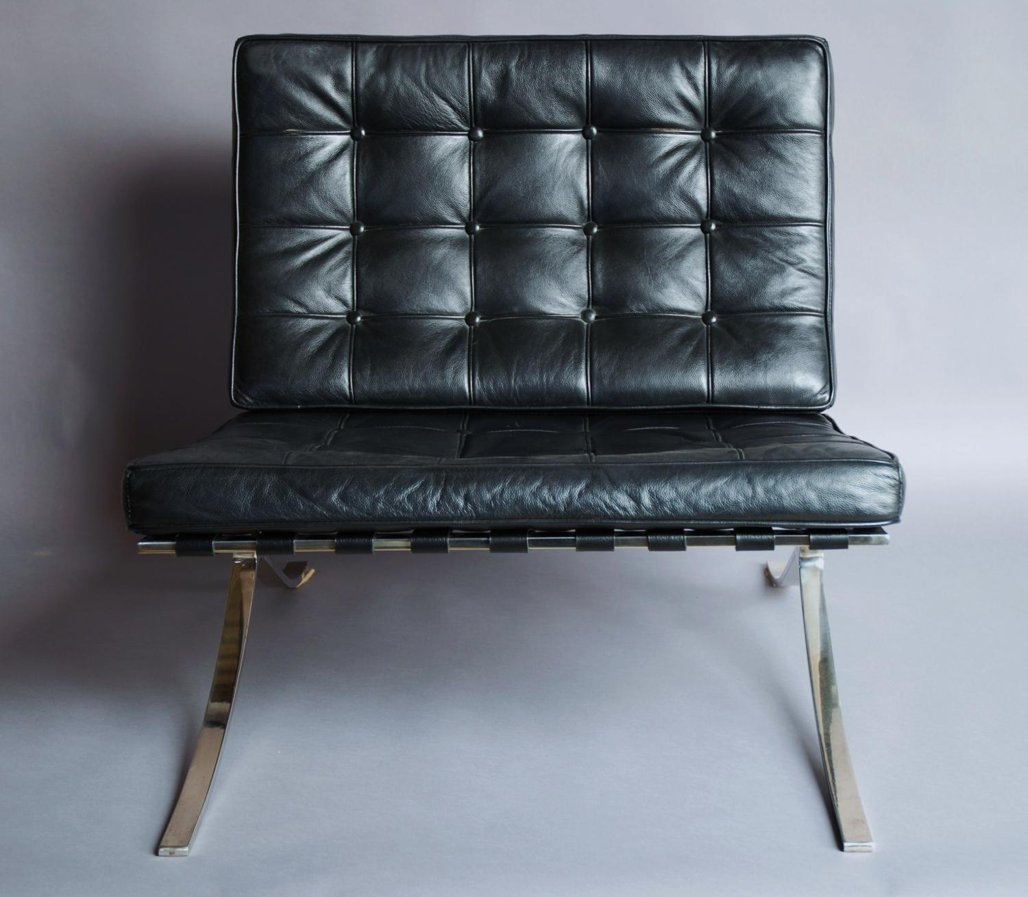 Barcelona Chair & stool in black leather in SOLD ARCHIVE