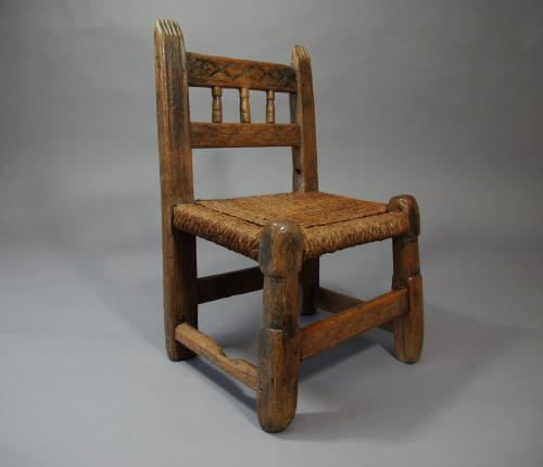 18thc folk art pine spindle back childs chair