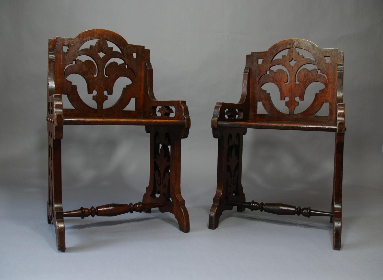 19th Continental oak Gothic choir chairs