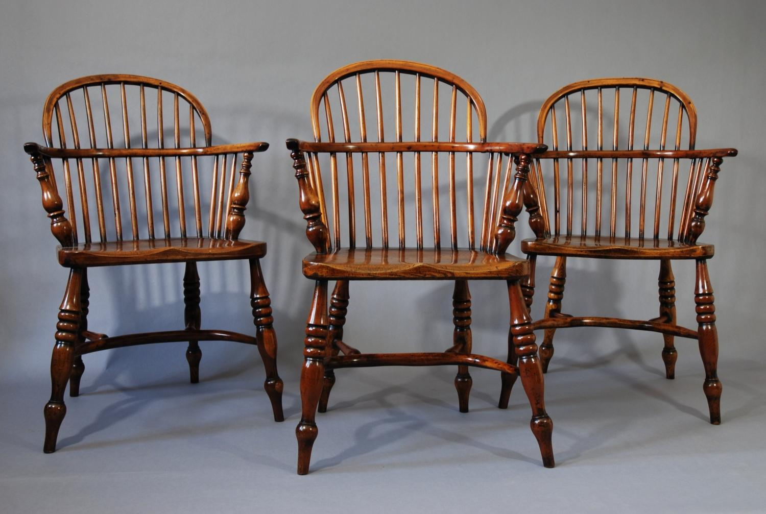Set of six yew wood low-back windsor chairs