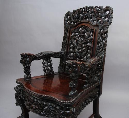 19thc hardwood Chinese carved armchair