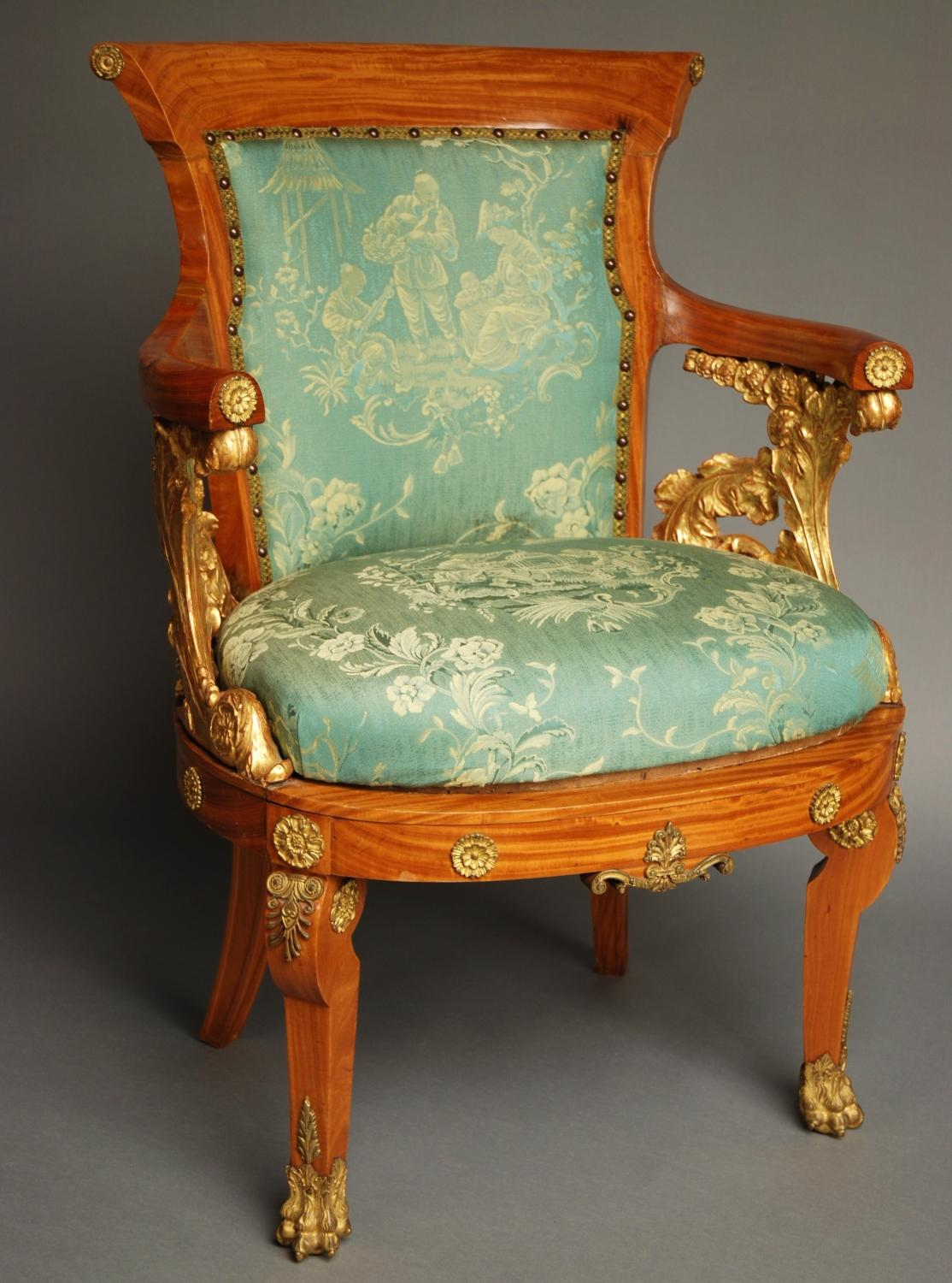Late 19thc solid satinwood armchair