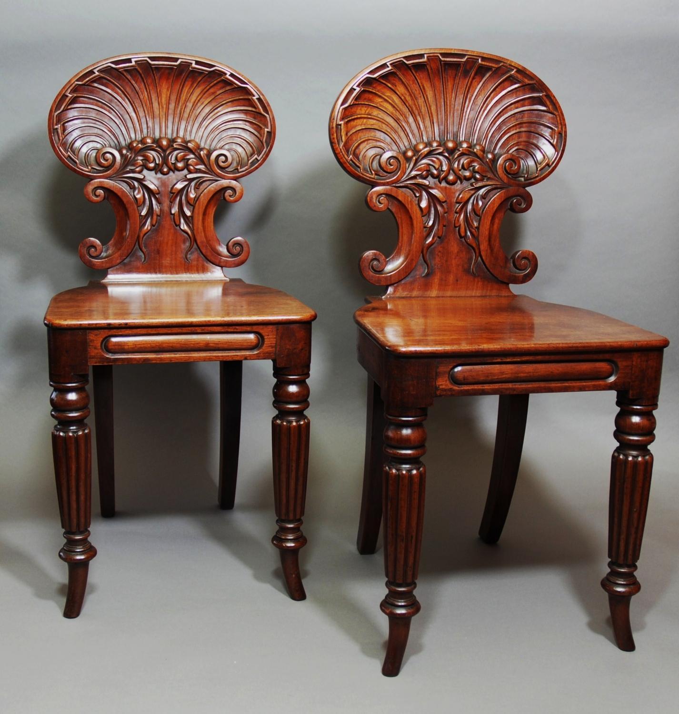 Pair of 19thc mahogany hall chairs