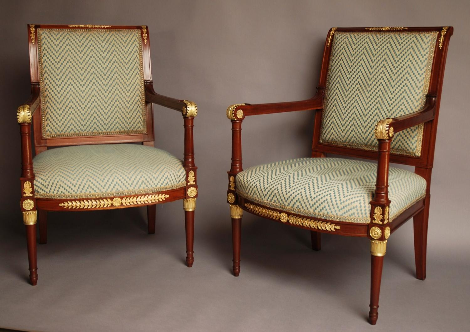 Pair of decorative French early 20thc chairs