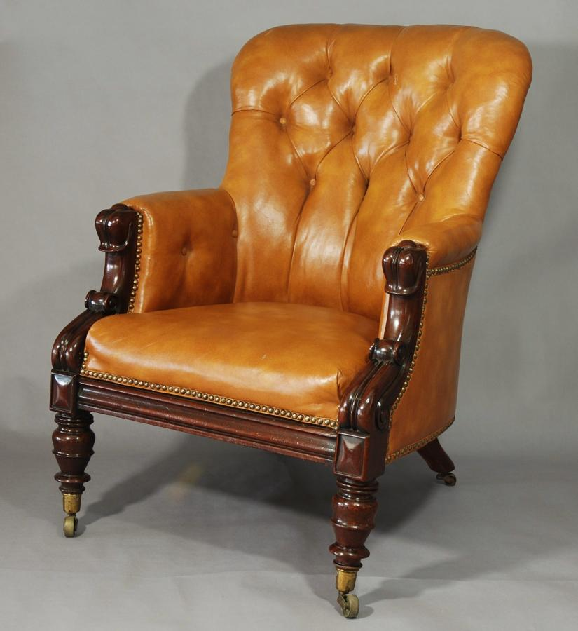 19thc Deep buttoned Leather armchair