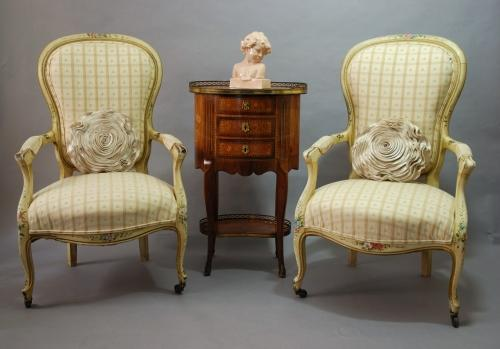 Pair of painted open armchairs