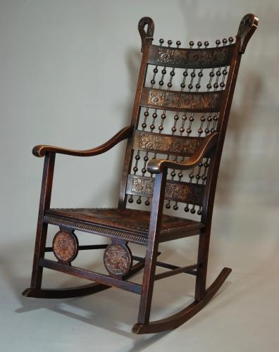 Large Arts & Crafts oak rocking chair