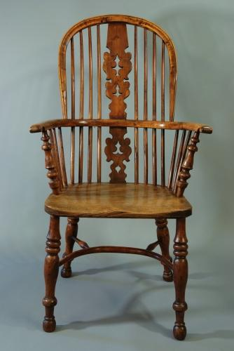 19thc yew wood splat back Windsor chair