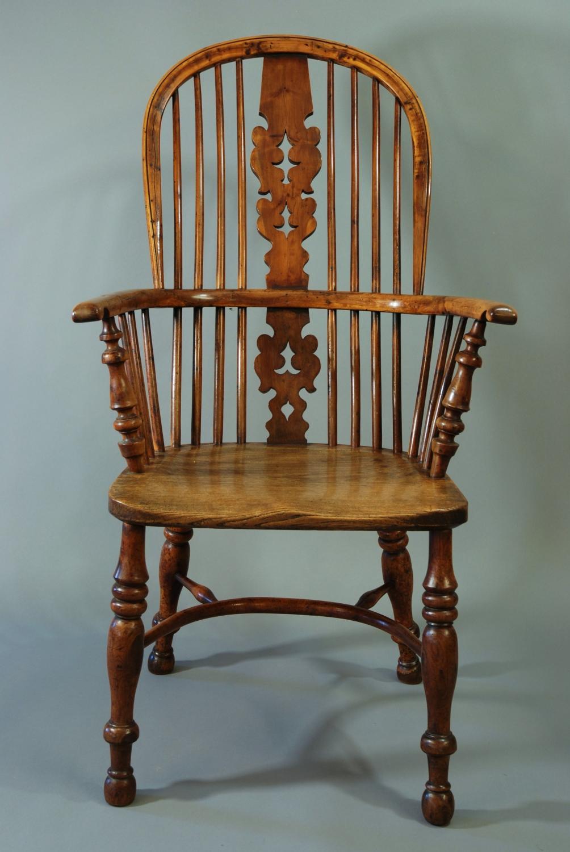 19thc yew wood splat back Windsor chair