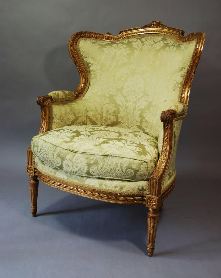 19thc French gilt & carved wood armchair