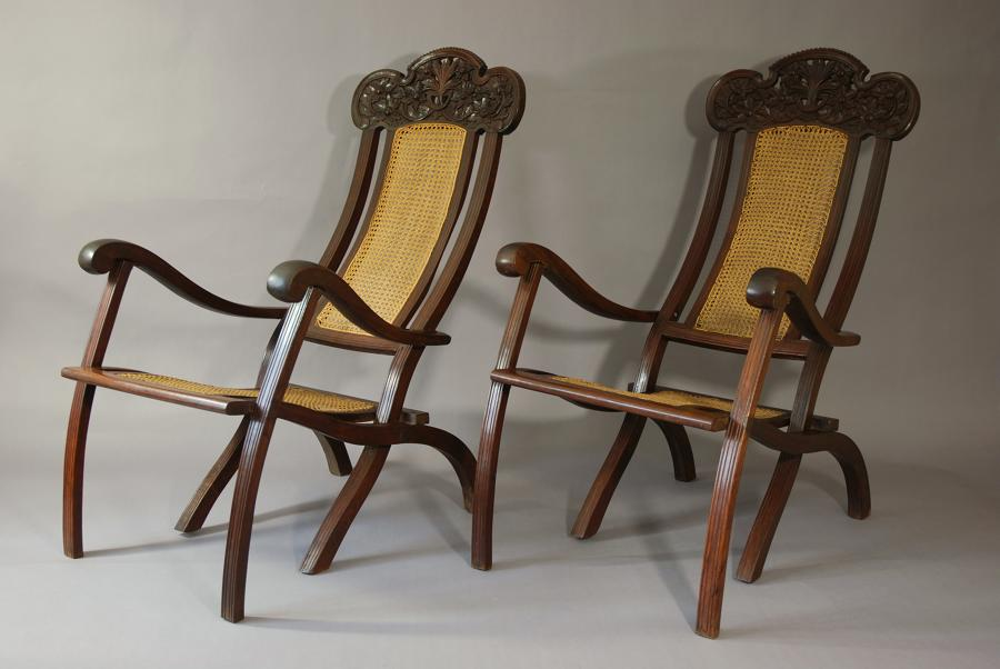 Pair of 19thc Anglo Indian planters chairs