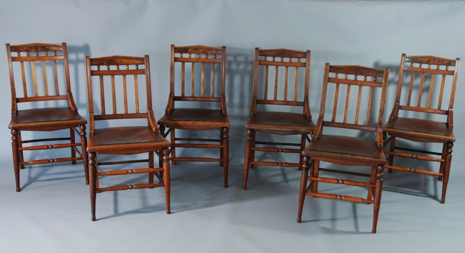 Set of six walnut Arts & Crafts chairs