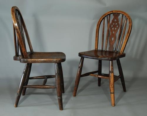 Set of six 19thc wheelback windsor chairs
