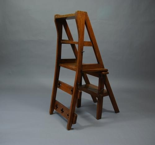 Arts & Crafts oak metamorphic chair