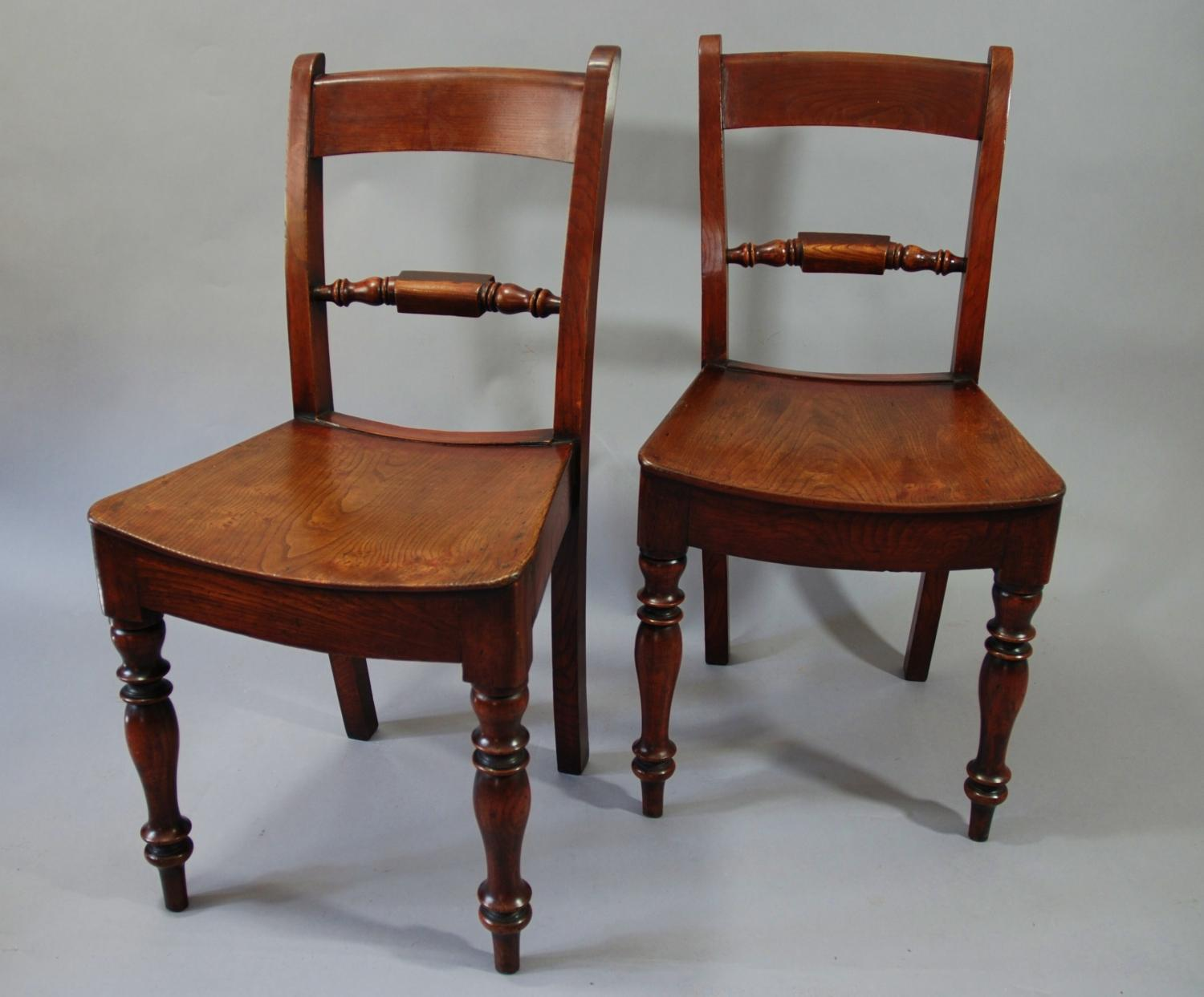 Six 19thc elm chairs