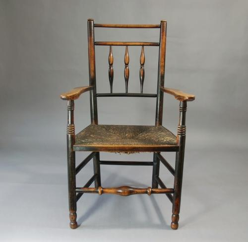 19thc ash spindle back chair with rush seat