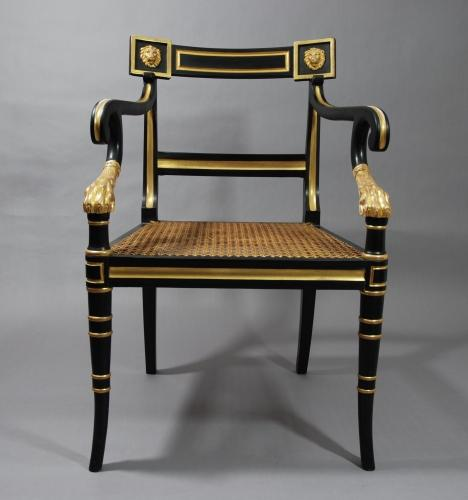 Reproduction Regency style open armchair