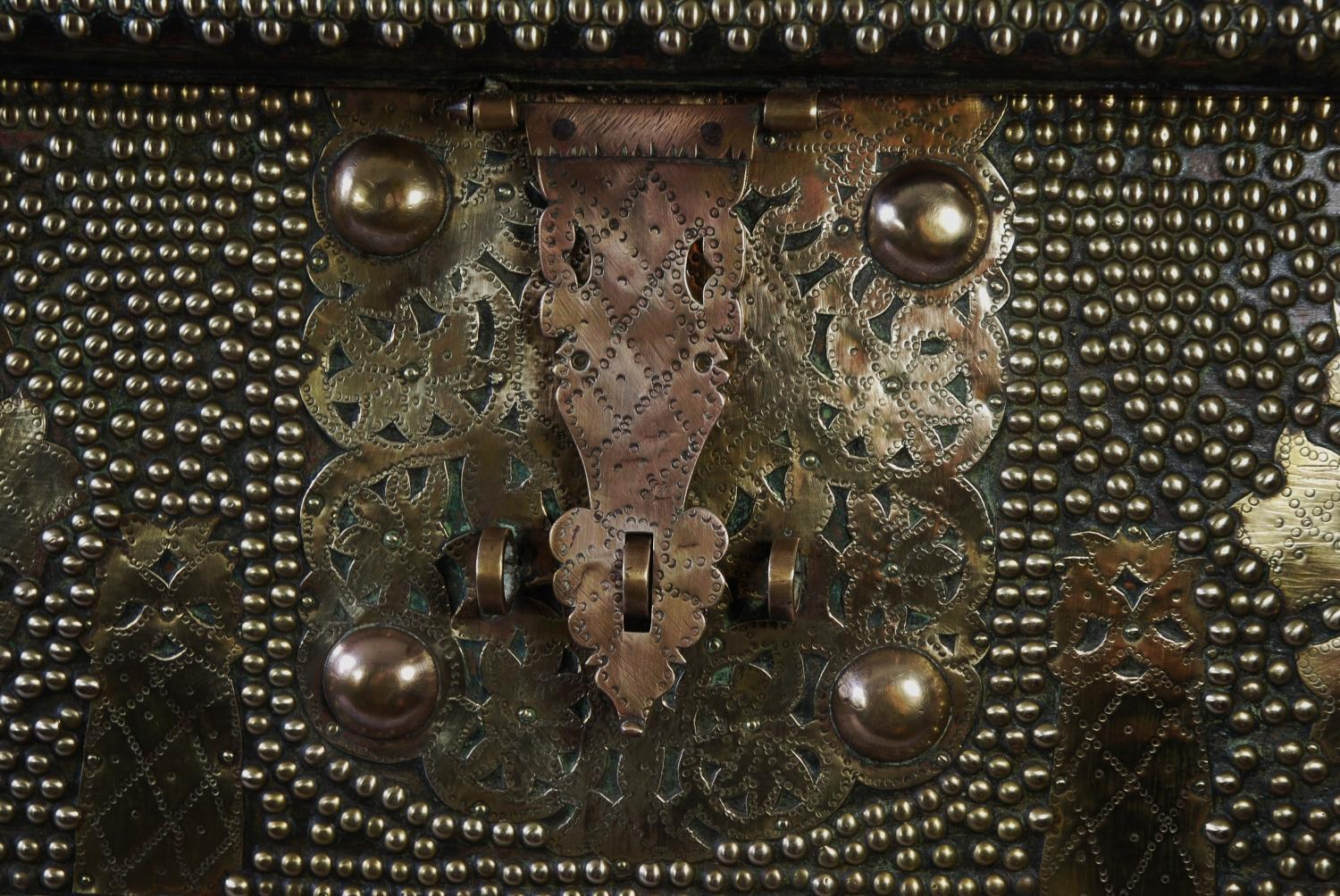 Sinhalese padouk studded travelling chest