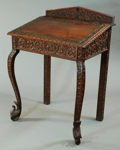 Anglo Indian carved writing desk