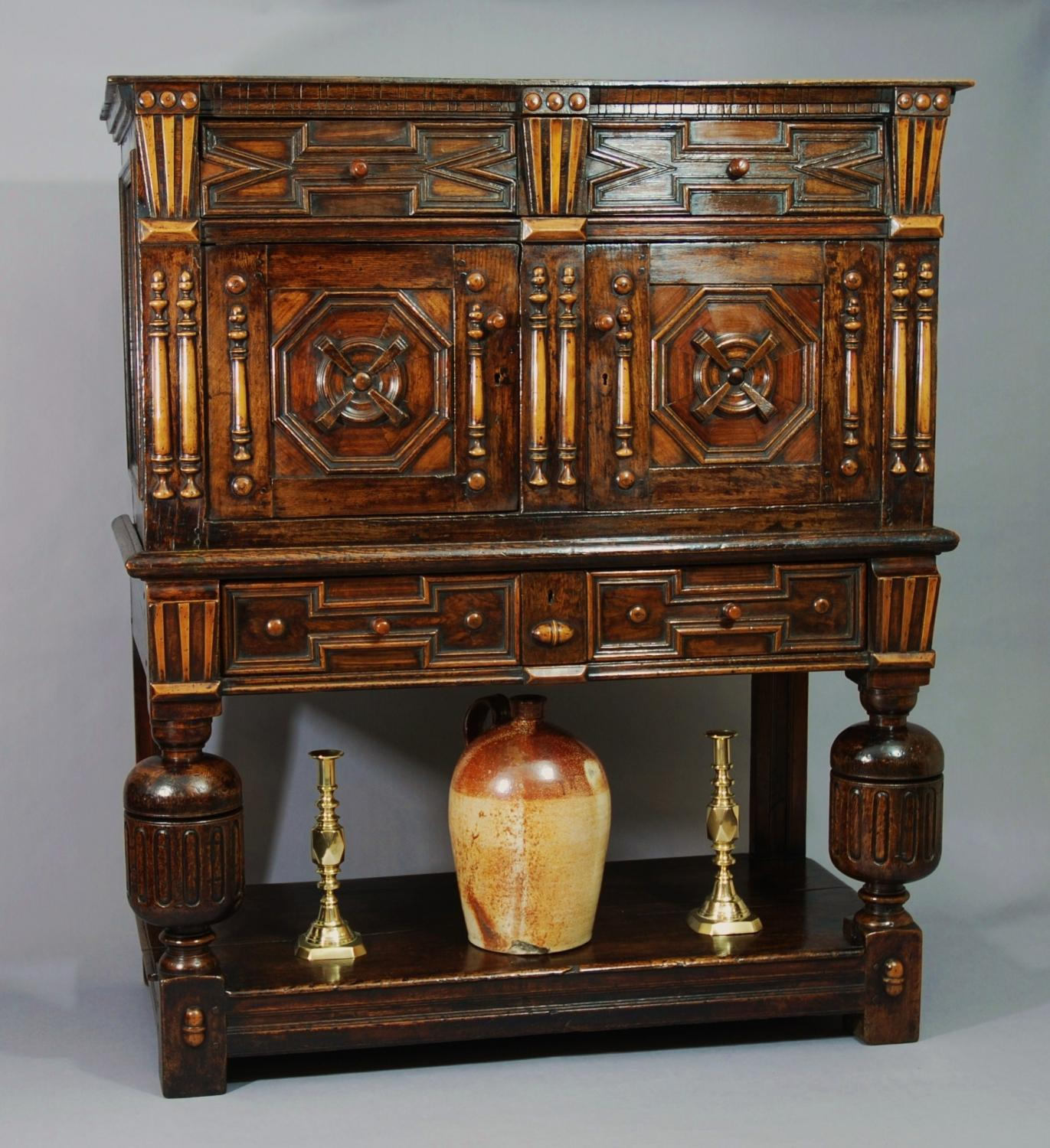 Late 17thc joined oak livery cupboard
