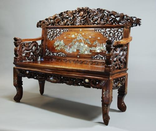 Carved Chinese & inlaid hardwood low bench