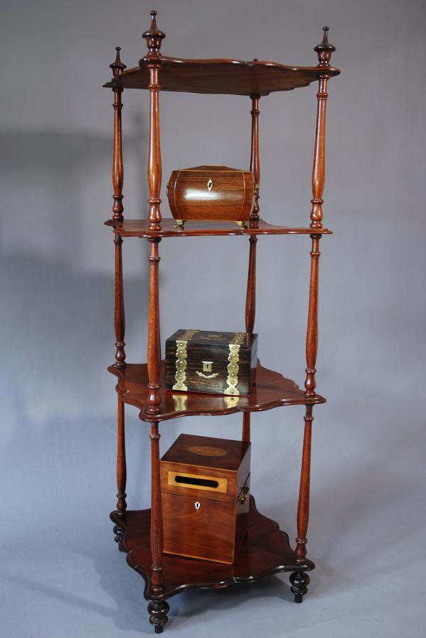 Four tier mahogany whatnot